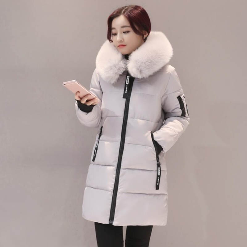 Fashion Snow Wear Large Fur Collar Ladies Coats 2017 Winter Coat Women Parka Long Thick Slim Womens Coats And Jackets Outerwear womens winter jackets and coats parka 2017 fashion baseball coats chaquetas monler mujer purple black green blueplus size 3xl