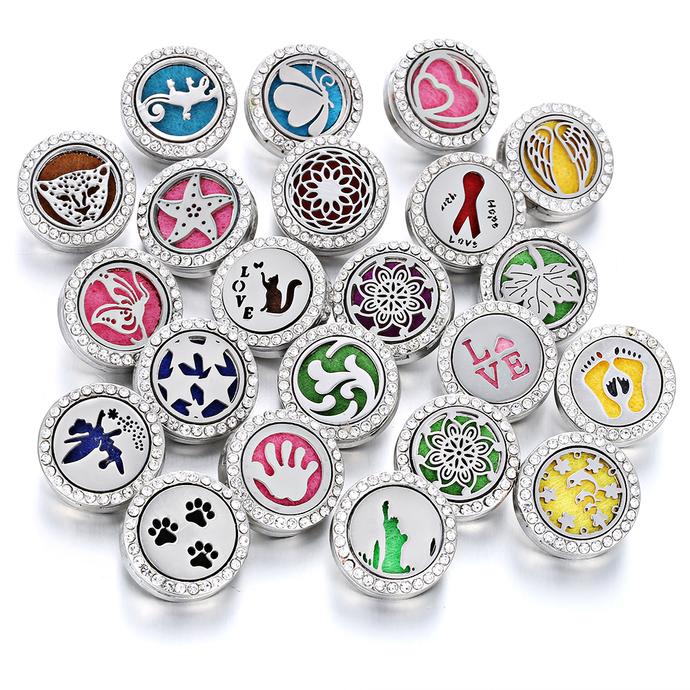 Aromatherapy 18mm Snap Buttons Perfume Locket Stainless Steel Essential Oil Diffuser Tree Of Life Snap Button Bracelet Jewelry