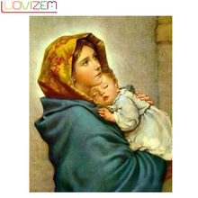 5D Diy Diamond Painting Cross Stitch Religion Icon Needlework Embroidery Woman And Baby LUOVIZEM L164
