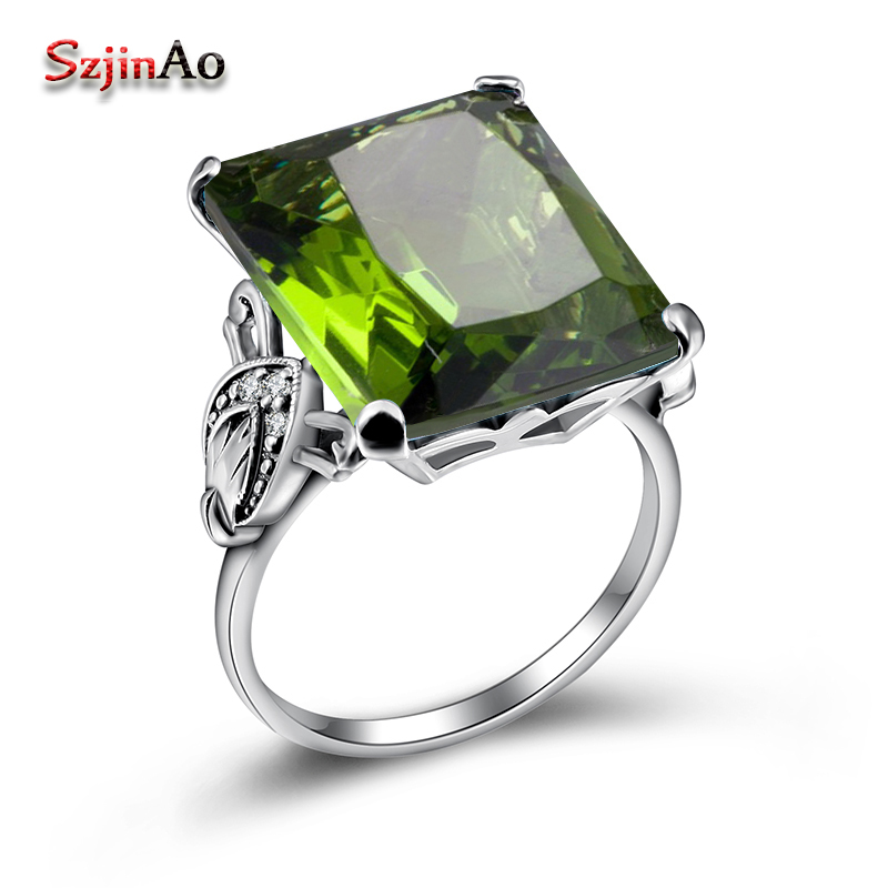 Szjinao Classic Real Solid 925 Sterling Silver Ring Boho Peridot Wedding Jewelry Rings Engagement For Women Septum bague femme men wedding band cz rings jewelry silver color anillos bague aneis ringen promise couple engagement rings for women