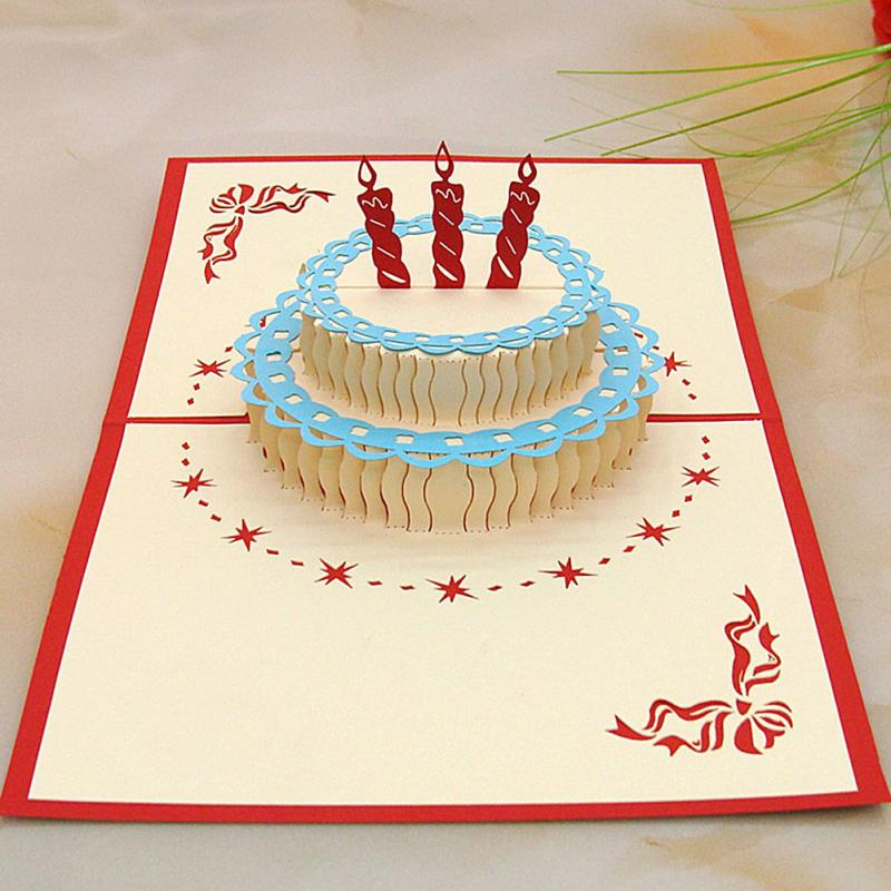 3d Postcard For Birthday With Cake Shaped Happy Birthday Card Good