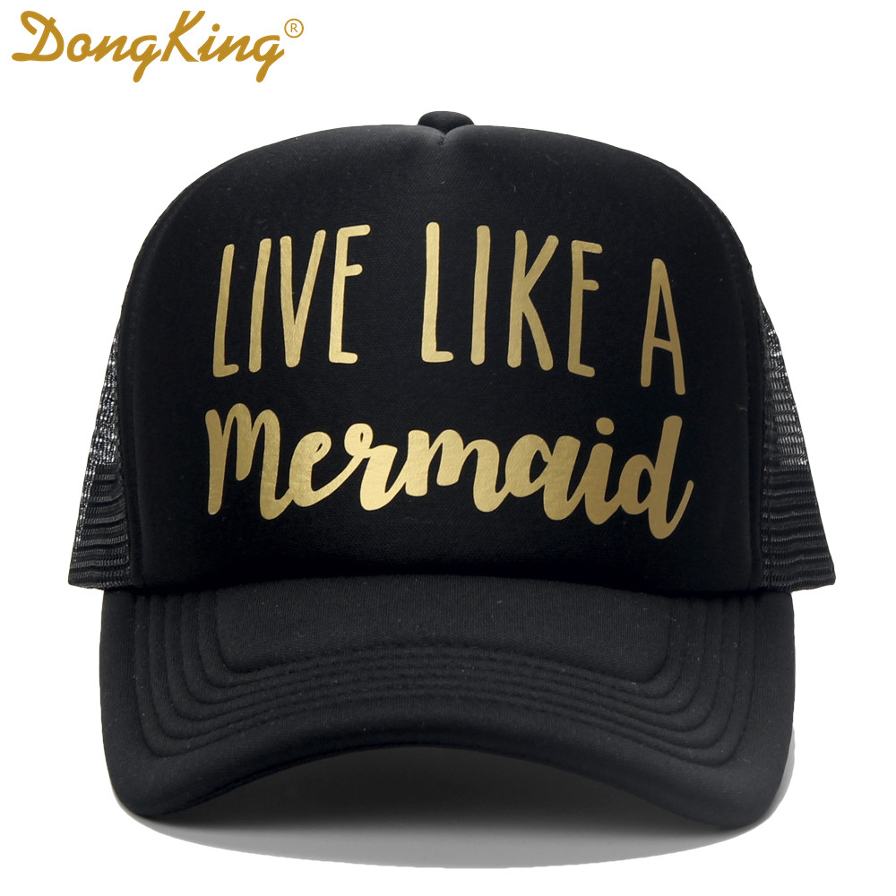 95715a0af6e DongKing Fashion Trucker Hat Live Like a Mermaid Printed By Hand Hawaii  Beach Sun Cap Love