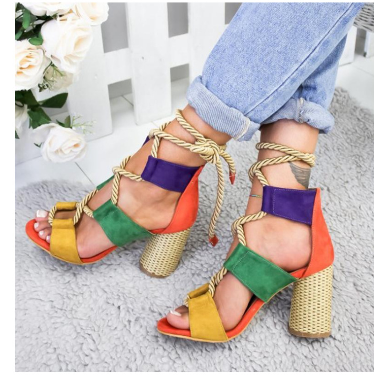 Women Flat Sandals Rope Female Beach Shoes Wedge Shoes 2019 Summer High Heel Comfortable Platform Sandals in Middle Heels from Shoes