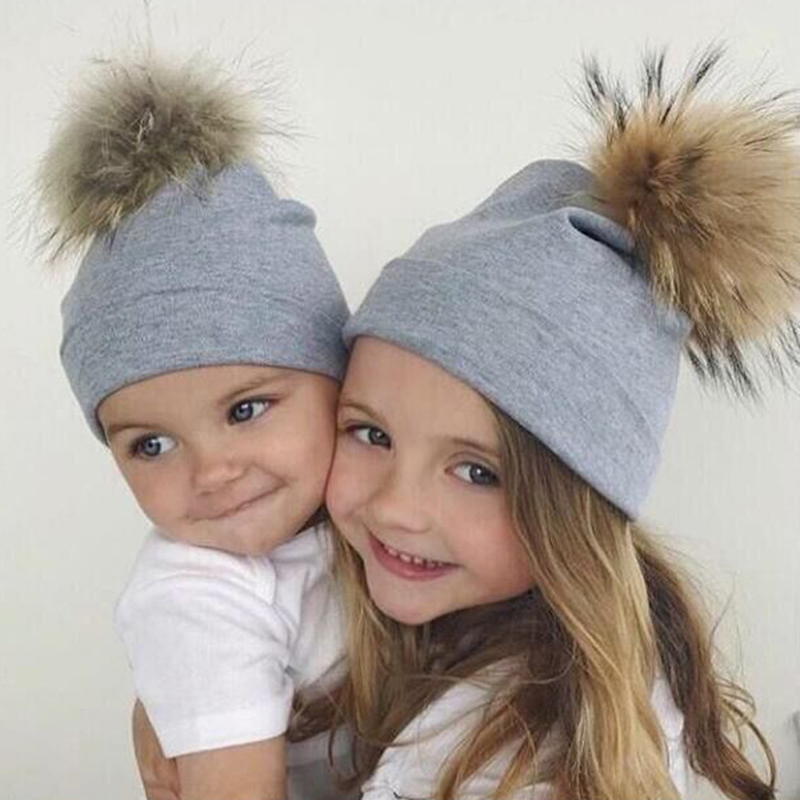 New Pompom Hat Kid Winter Warm Hat Cotton   Beanie   Girl Fur Pom Pom Hats   Skullies     Beanies   Child Fur Pom Pom Hats Girls Boys WH022