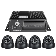 DHL free shipping 4pcs car camera  mobile DVR Kit H.264 Video PC Play Back,Backup,4 Channel Truck /Bus AHD 1080 DUAL SD MDVR Kit