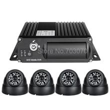 DHL free shipping 4pcs car camera  mobile DVR Kit H.264 Video PC Play Back,Backup,4 Channel Truck /Bus AHD 1080 DUAL SD MDVR Kit