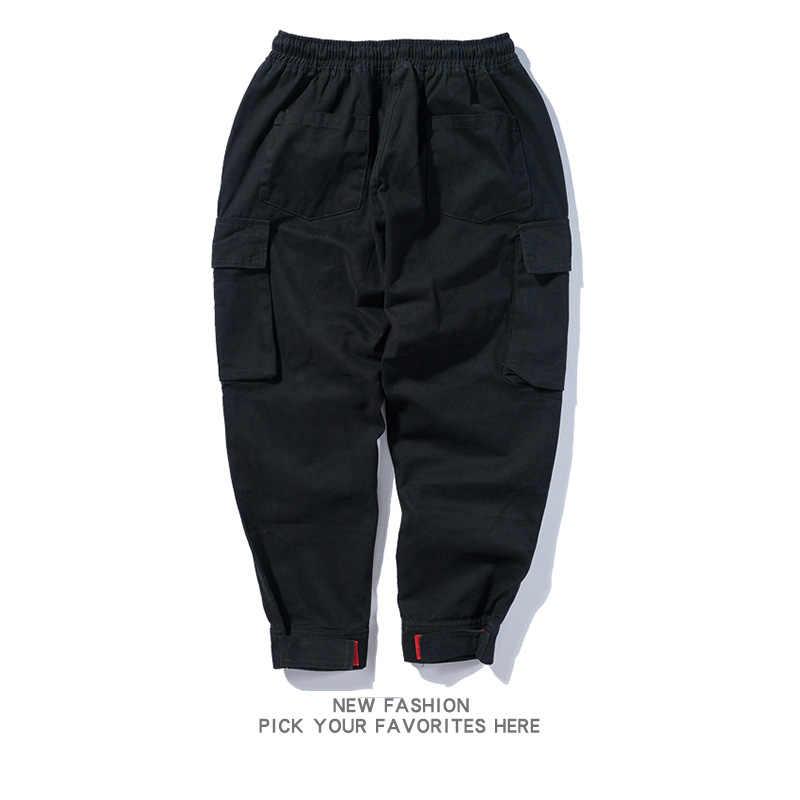 2018 Yeni Moda Streetwear Erkek Kot koşucu pantolonu Ordu Yeşil Siyah Renk Gevşek Fit Harem Kargo Pantolon Hip Hop Kot Erkekler