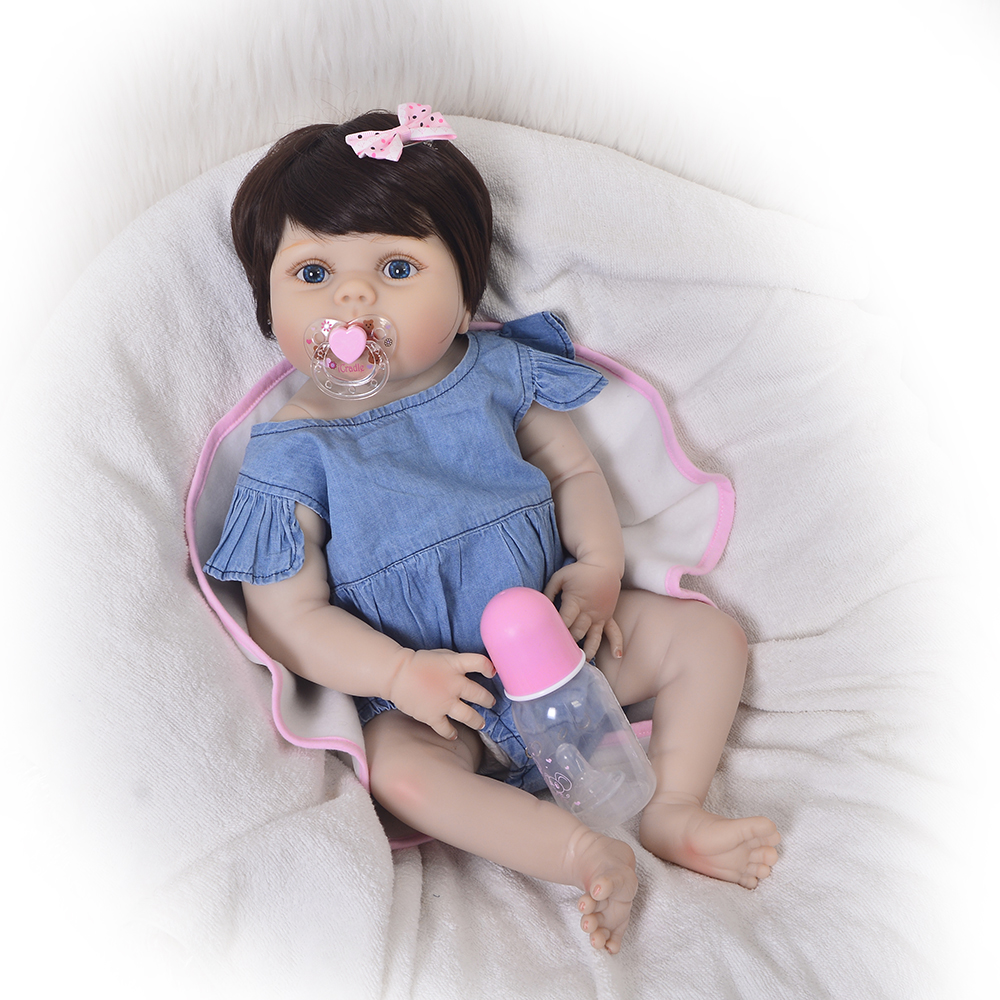 16 alive real like newborn baby dolls lifelike silicone babies reborn dolls wear baby clothes fashion kids new born xmas gifts Fashion Jeans Girl 23'' Reborn Dolls Babies Full Body Silicone Vinyl Simulation New Born Baby Dolls For Kids Birthday XMAS Gifts