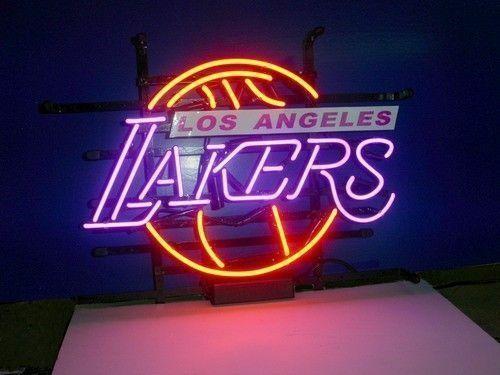 Custom Made LA lakers Glass Neon Light Sign Beer Bar