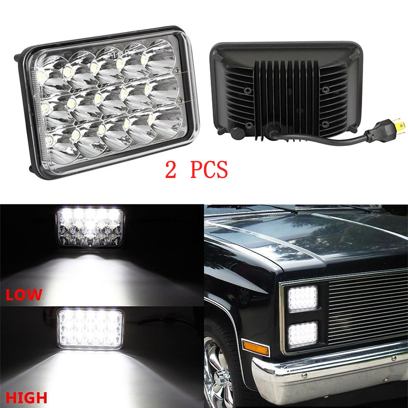 45w Square Auto Light 4*6 Led headlamp H4 Replace HID Xenon Headlights bulbs white H4651 H4652 H4656 H4666 H6545 Projector lens