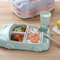 Bamboo fiber dinnerware sets Creative cartoon car shape dinner set cutlery for kids Children's Day gifts korean kitchen