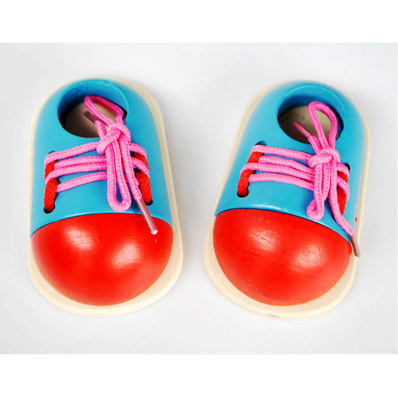 Ingenious Free Shipping Wood Montessori Shoe Model 2pcs Baby Early Training Shoelac Shoes Toy Scale Models Toy Wooden Educational Block Last Style Home