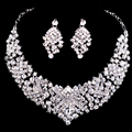 Necklace Collares Earrings Fine African Jewelry Sets Bridal Maxi Necklaces Pendant Silver Plated Wedding Joyeria Women