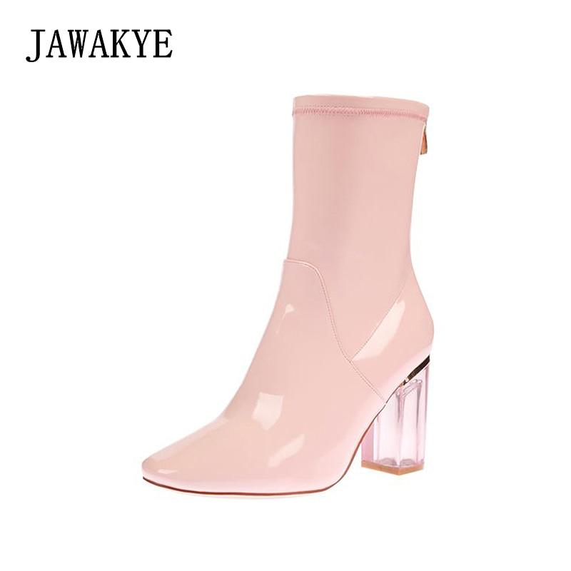 2018 세련 된 발목 부츠 여자 지적 발가락 레드 블루 특허 가죽 투명 한 크리스탈 높은 뒤꿈치 부츠 여성 패션 짧은 부츠-에서앵클 부츠부터 신발 의  그룹 1