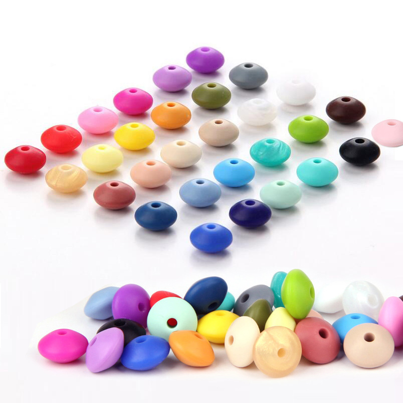 120pcs WKOUD Lentil Silicone Beads For Jewelry Making BPA Free Abacus Silicone Beads For Baby Necklace Teething DIY Toy Beads