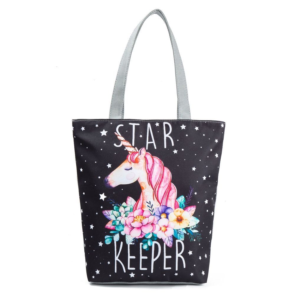 1PC Unicorn Canvas Shoulder Large Shopping Bag Summer Beach Bag Satchel School Handbag Large Tote