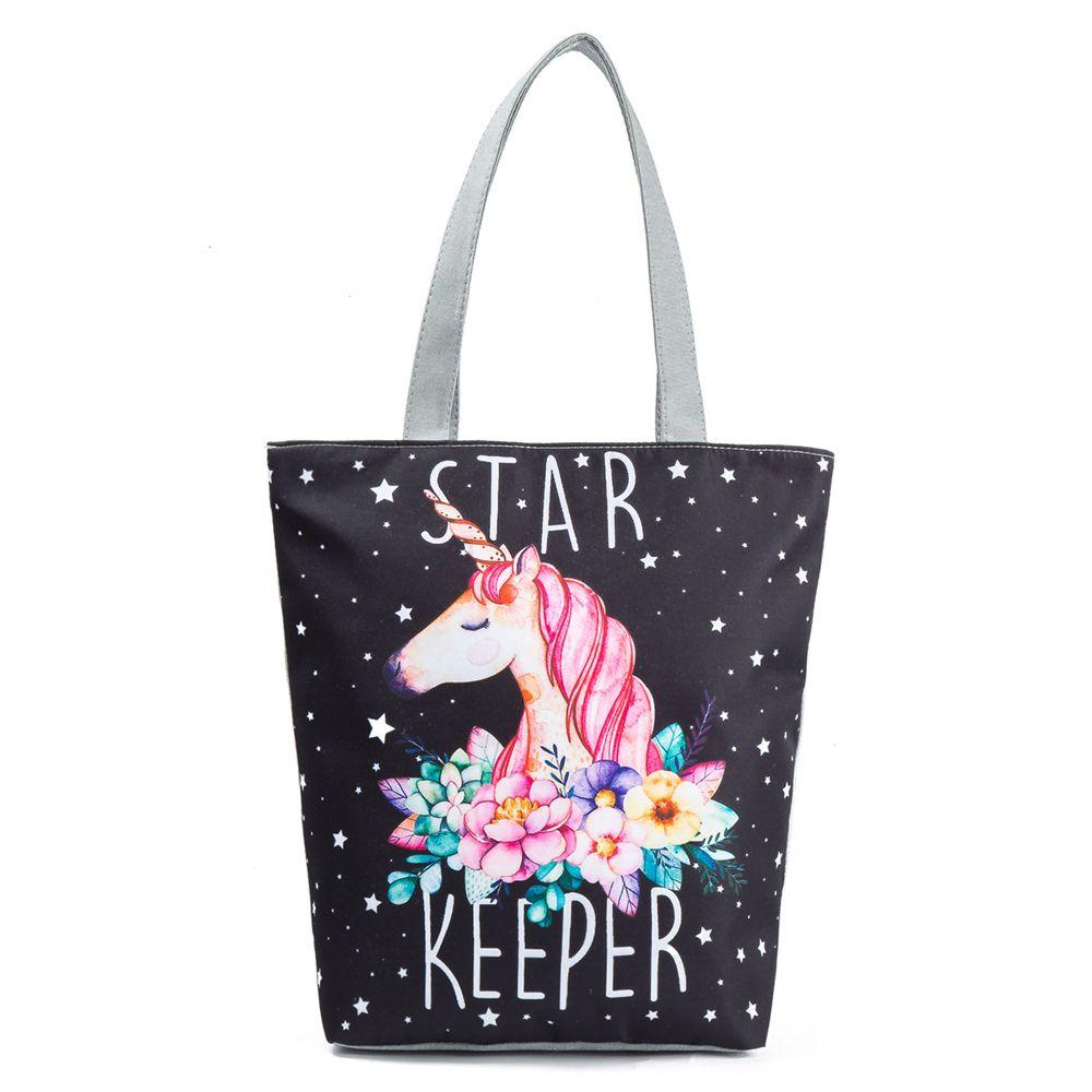 1PC Unicorn Purple Canvas Shoulder Large Shopping Bag Summer Beach Bag Satchel School Handbag Large Tote