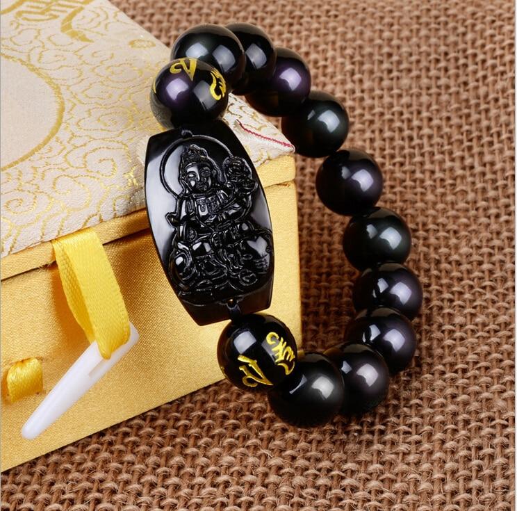 Prix pour 10 MM de Haute Qualité Natural Black Obsidian Sculpté Bouddha Chanceux Amulette Perles Rondes Bracelet Pour Femmes Hommes Bracelet Bijoux De Mode