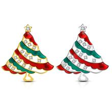 2019 Christmas Exquisite Trend Tree Rhinestone Color Copper Zircon Brooch Pin Jewelry Best Gift