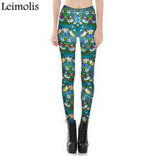Leimolis adventure time punk rock Harajuku black milk push up fitness sexy gothic 3d print leaf flower bird dream women leggings