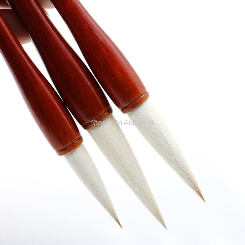 3 pcs varios cabelos escrita chinesa pincel de caligrafia caneta vermelha conjunto bursh pequeno roteiro regular