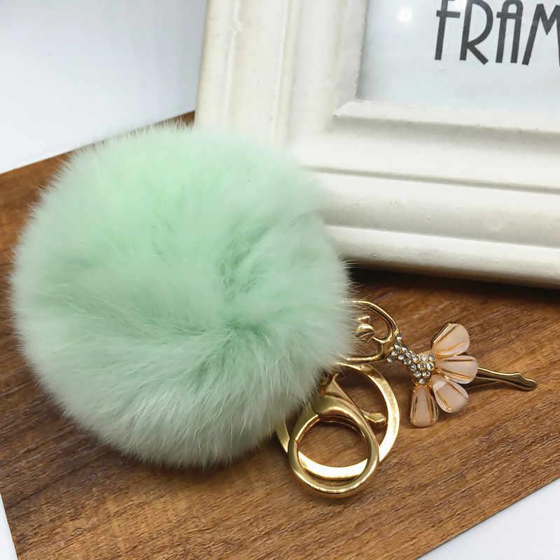 Nova Moda Feminina Rabbit Fur Cony Cabelo Pedrinhas Bola Pom Pom Charme Chaveiro Bolsa Chave Do Carro Anel jewlelry K1659