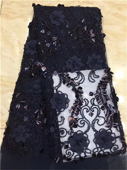 3D Flower African French Net Lace Fabric With Sequins Noble Style Applique Guipure Mesh Tulle Wedding Party F5
