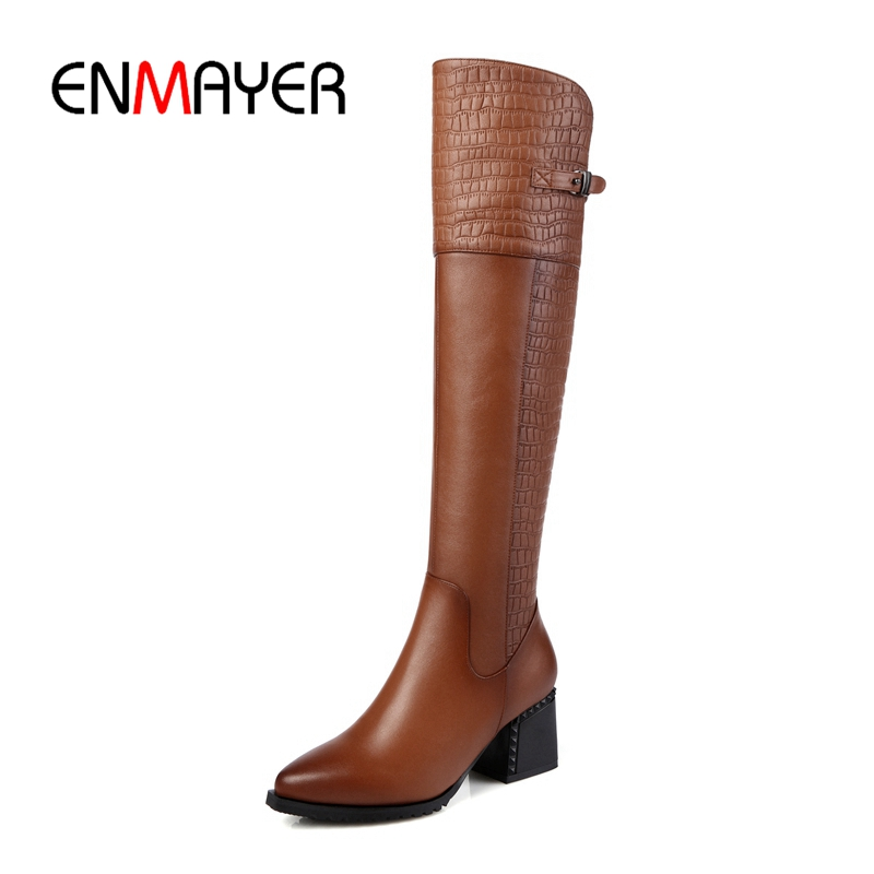 ENMAYER 2018 New cow Leather Women Over The Knee Boots zip Sexy High Heels Women Shoes Winter Boots Warm Size 34-43 ZYL870 new sexy women boots winter over the knee high boots party dress boots woman high heels snow boots women shoes large size 34 43