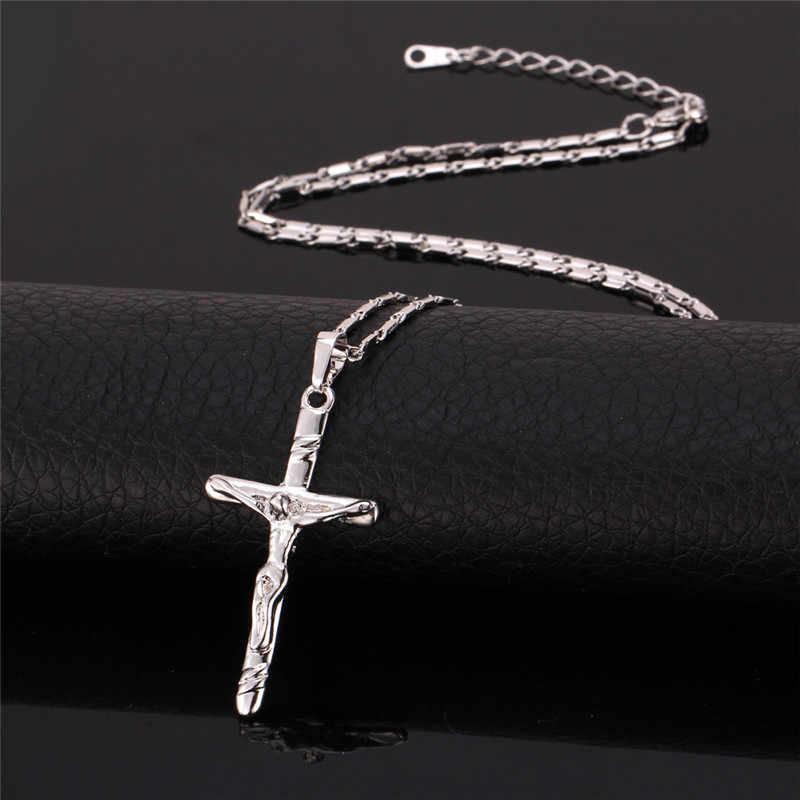 Collare naszyjniki z krzyżem i wisiorki złoty/czarny kolorowy naszyjnik kobiety/mężczyźni hurtownia jezus kawałek biżuteria chrześcijańska P257