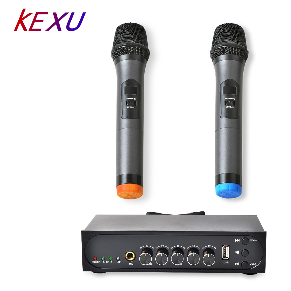 KEXU Wireless UHF 2 Channel Microphone System Cordless Twin Handheld Mic Transmitter Microphone Systerm for Karaoke KTVKEXU Wireless UHF 2 Channel Microphone System Cordless Twin Handheld Mic Transmitter Microphone Systerm for Karaoke KTV
