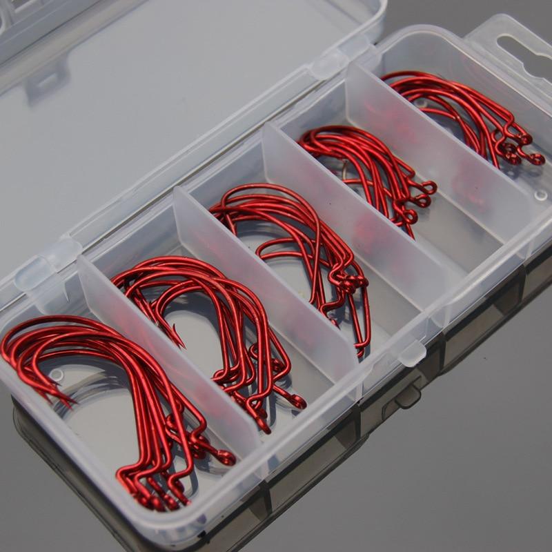 Röd fiskekrok 50 st fiskekrokar 1 # 2 # 1/0 # 2/0 # 3/0 # Vevkrokar anzol para pesca anzol barbe haken gancho hamecon simple