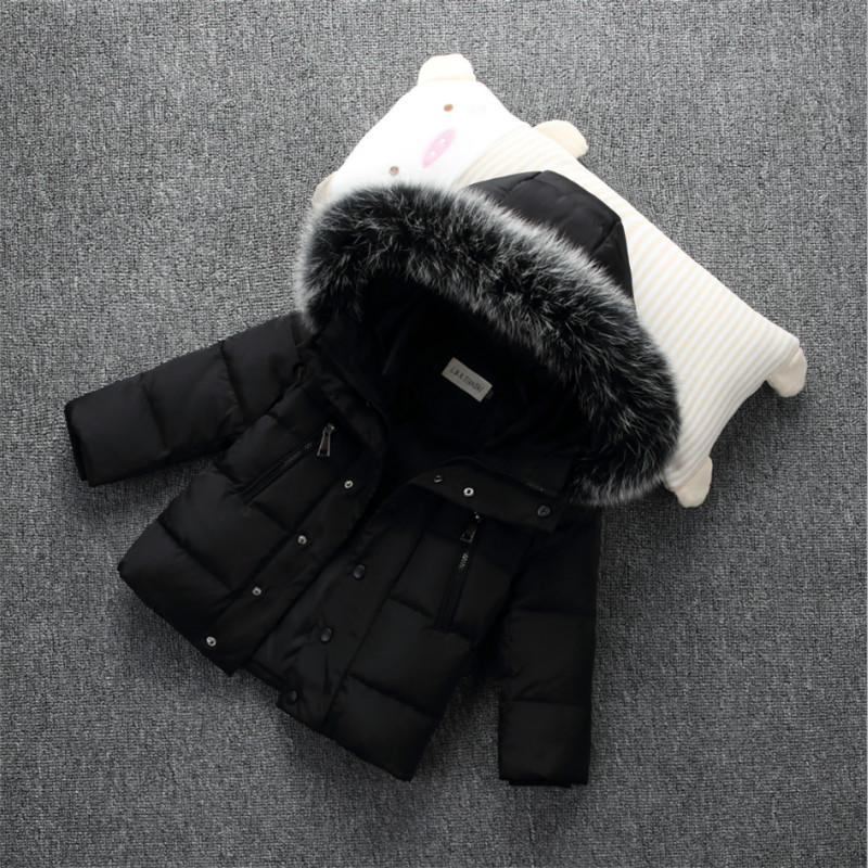 2018 Winter Down Jackets For Boys And Girls Coat Fashion Big Fur Collar Solid Hooded Warm Kids Jackets Outwear 100-140 globo настенный светильник globo rustica 2 4413 1