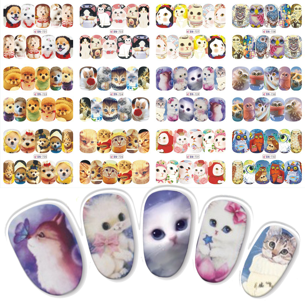 2017 New Arrival Lovely Cat/ Dog Designs Full Cover Water Transfer Nail Art Slider Stickers for Nails Decals Manicure BN721-732 2016 2sheets manicure tips beauty purples oil printing 3d diy designs nail art water transfer stickers decals full cover xf1405