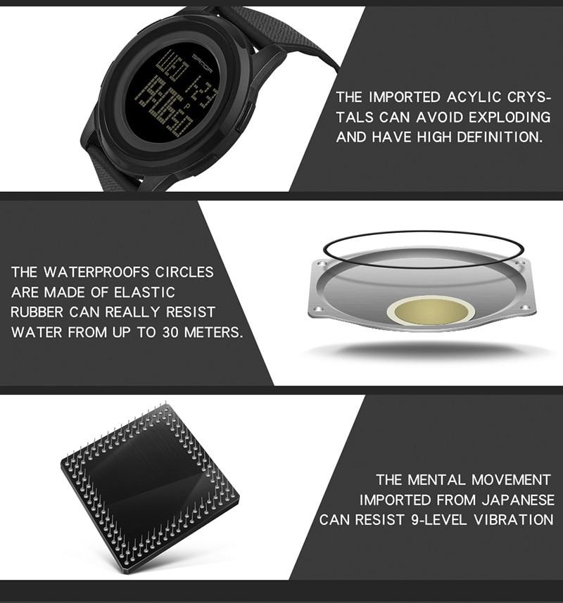 2018 Sanda Brand Sport Watch Men Luxury Electronic LED Digital Wrist Watches For Men Male 9mm Super Slim Clock Relogio Masculi 19