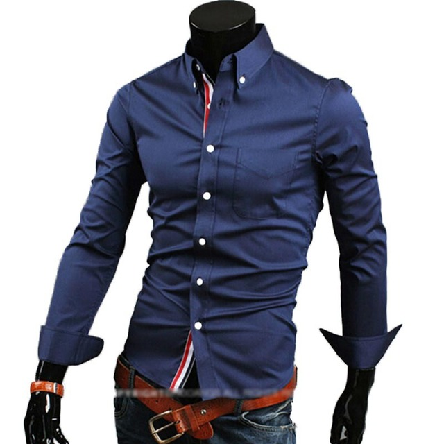 cheap shipping hot new fashion business casual slim fit length-sleeved shirts men's dress shirts leisure brand 5 colors 5 sizes