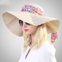 Ummer Hats For Women Sun Hat Bow Tie Floppy Beach Wide Brim Straw Panama Hat Female Cap 2018