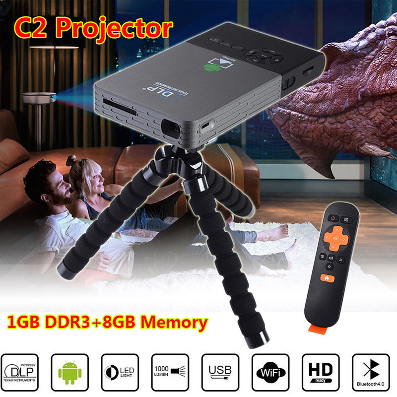 Free shipping!C2 Portable Mini HD 1080P Bluetooth 4.0 DLP Projector Android 4.4 Home Theater