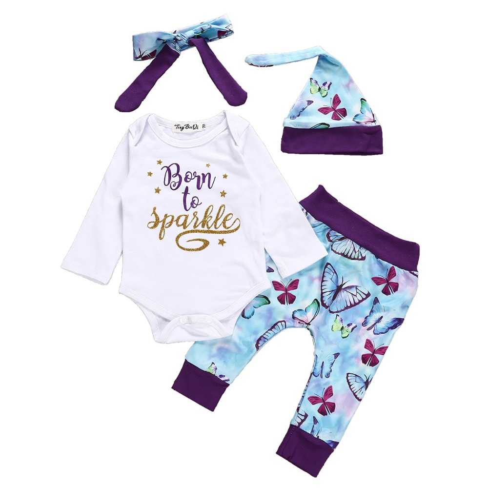 girls baby clothes long sleeve rompers tops+long pants+headband+hat 4pcs toddler outfits infant fanshion clothing sets