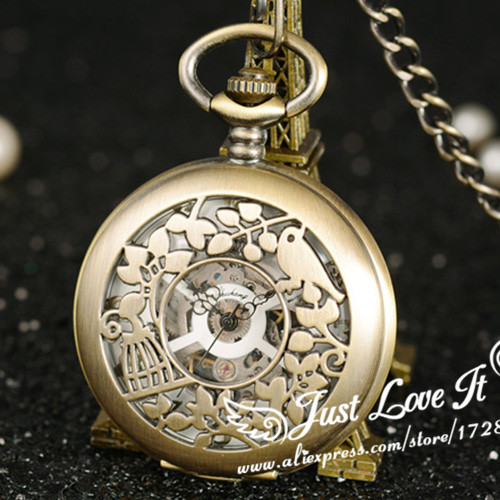 Ancient men women mechanical pocket watch Students nostalgic carve patterns designs necklace watch hollow-out bird home цена 2017