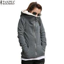 ZANZEA Для женщин толстовка с капюшоном Куртки 2017 осень-зима теплые женские плотное флисовое пальто Повседневное верхняя одежда с длинными рукавами плюс Размеры