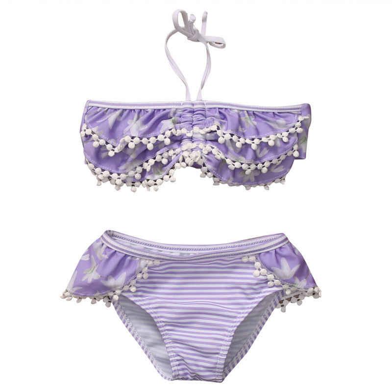 efefaf5ab Girls Bikini Set Cute Ruffle Striped Bathing Suit Floral Baby Girl Kid  Swimsuit Bathing Suit Strap