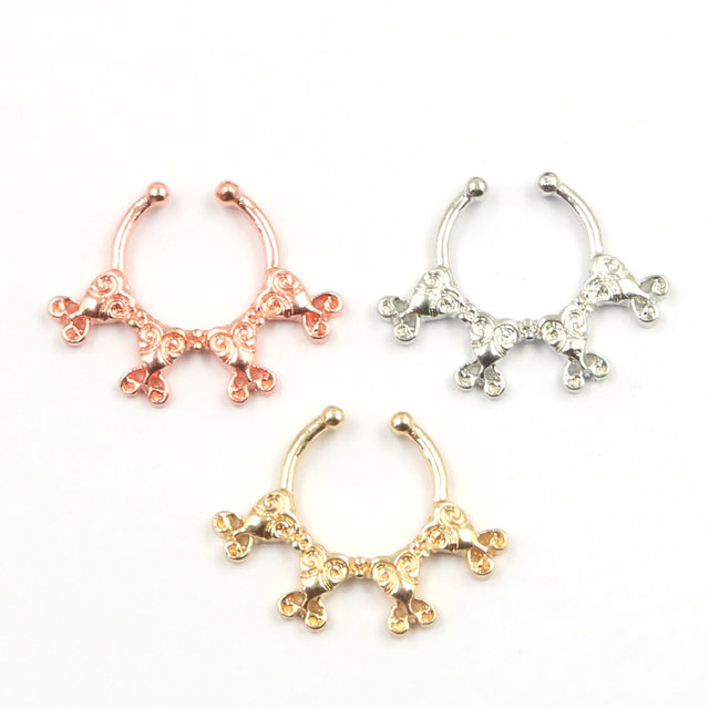 line Shop 30pcs New Design rose gold nose rings and studs fake
