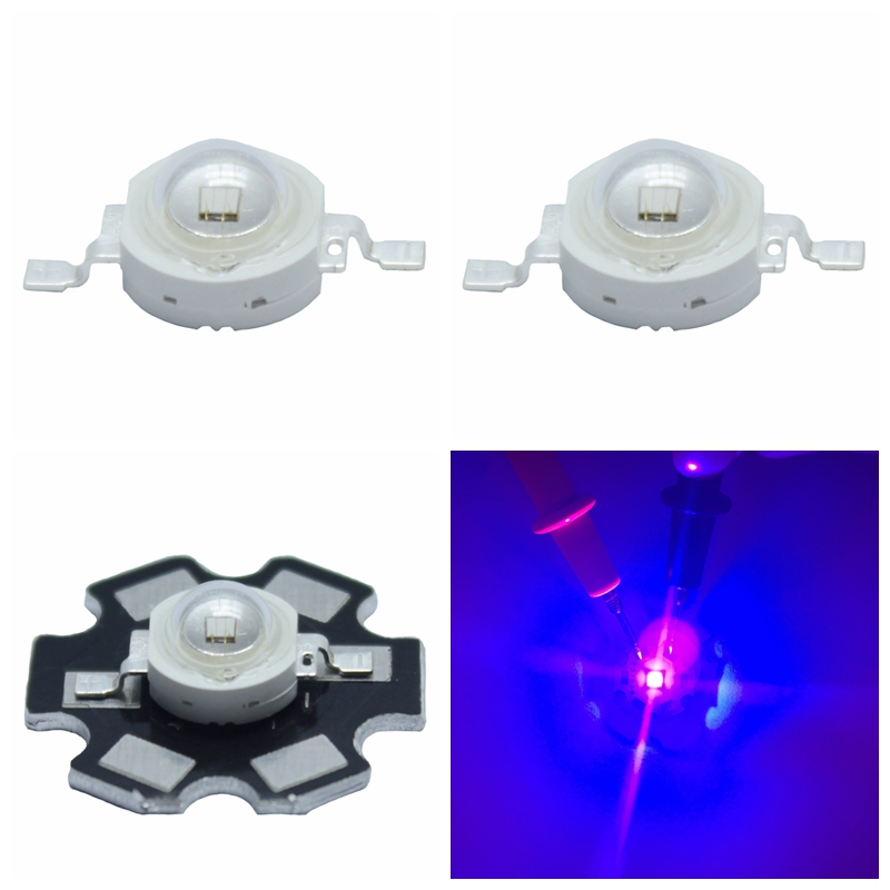3W 420nm UV Ultra Violet Purple LED diode High Power bead chip with 20mm pcb