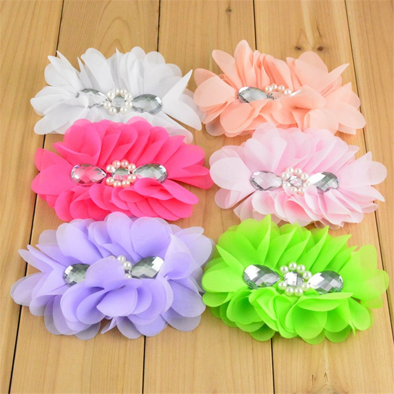 50pcs lot 12 Color U Pick 5 Large Chiffon Fabric Flower With Teardrop Rhinestone Garment Accessories
