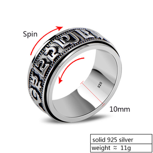 Image 2 - ZABRA Punk Jewelry For Men 925 Sterling Silver Spinner Ring Vintage Six Words Mantra Mens Signet Rings