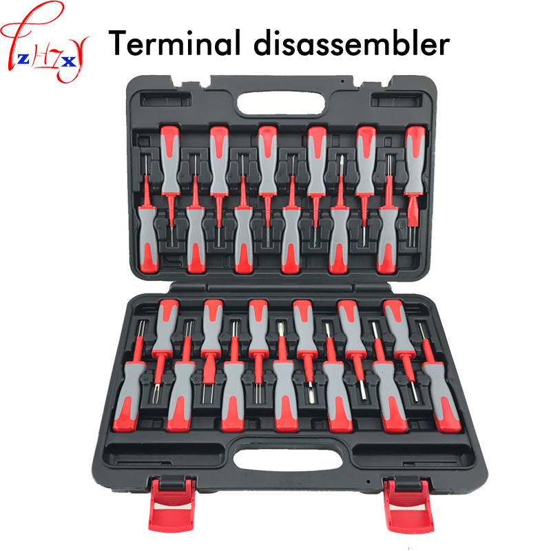 25pcs/set terminal disassembly tool car terminal wire harness plug remover tool kit crimp terminal removal tools цена