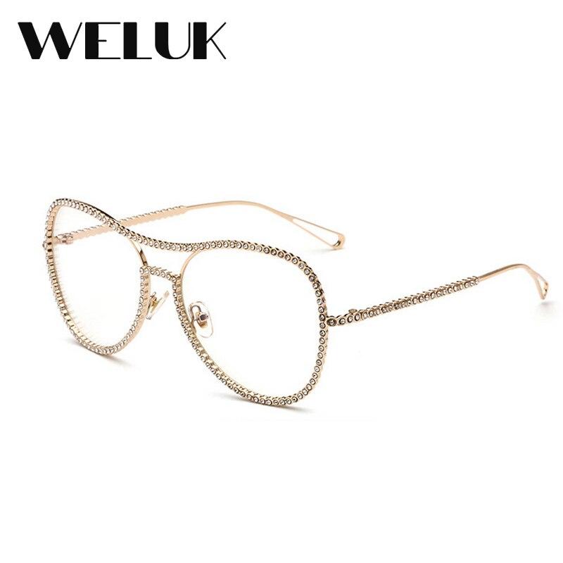 50b8966daae WELUK Spectacle Glasses Frame Eyeglasses Spectacle Decoration Gold  Rhinestone Glasses Frames Round glasses oculos de grau-in Eyewear Frames  from Apparel ...