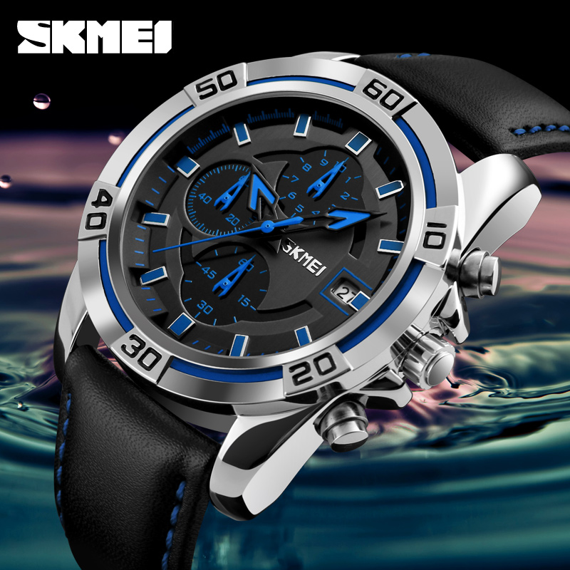 SKMEI Fashion Quartz Men Watches Top Brand Luxury Famous Watch Leather Strap Watches Waterproof Relogio Masculino De Luxo Clock 2017 new top fashion time limited relogio masculino mans watches sale sport watch blacl waterproof case quartz man wristwatches