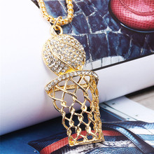 1PC Creative basketball stand with rhinestone pendant Hip hop mens necklace alloy hollow Street ball accessories