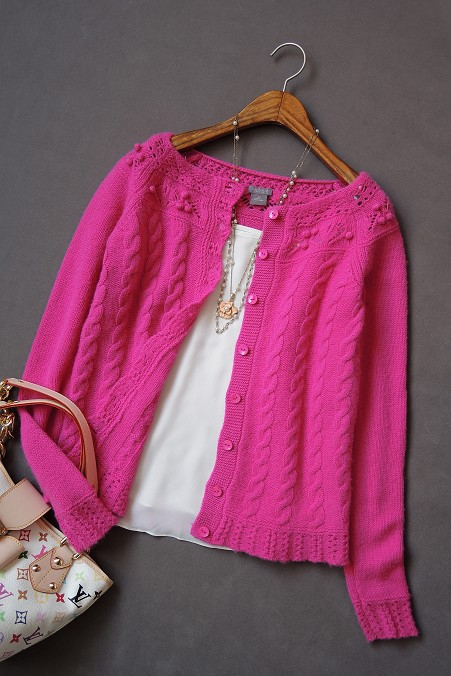 Shocking Pink Cute Long Sleeve Buttoned Cardigan Sweater 68% Wool ...